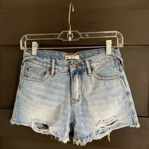 Free People mid-rise ripped jean shorts
